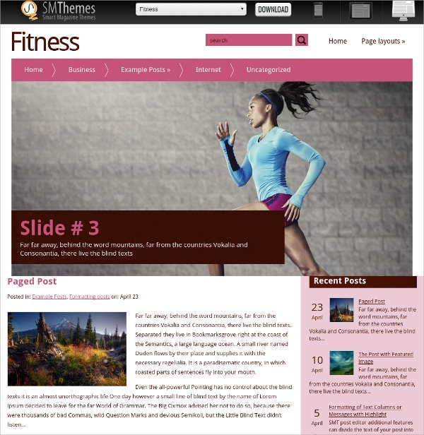 Free Fitness WordPress Theme