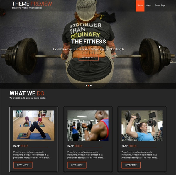 Free Responsive Fitness Trainer WordPress Theme