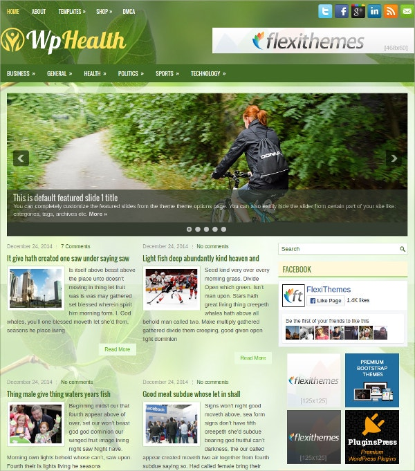 health fitness free responsive wordpress theme