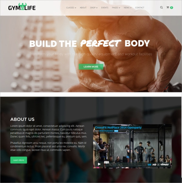 Gym & Fitness WordPress Theme $59
