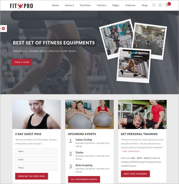most modern and fitness gym wordpress theme