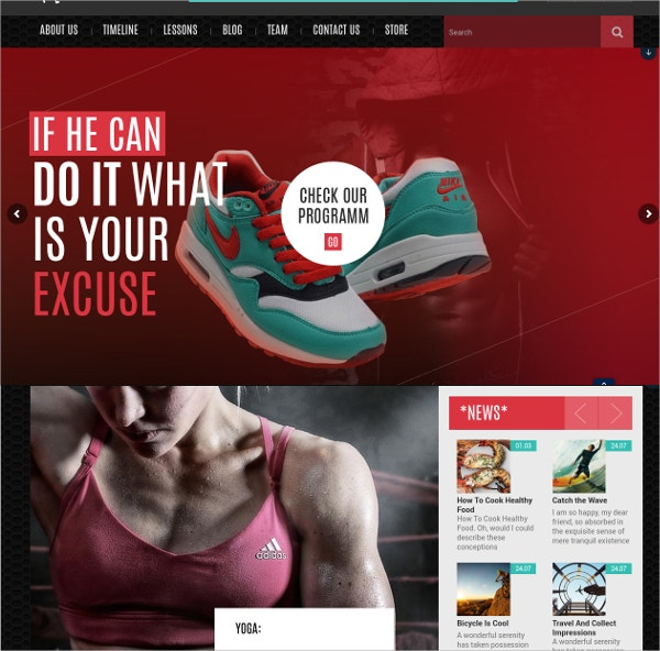 sports gym fitness worpress theme