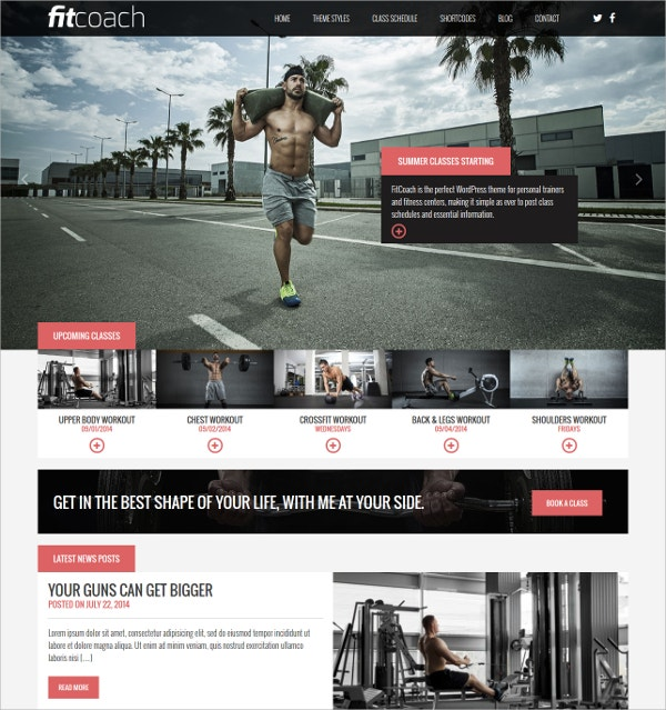 perfect free fitness worpress theme