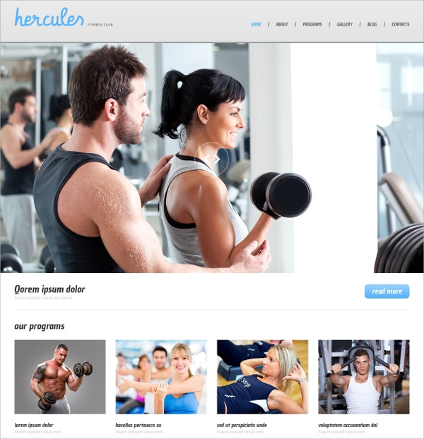 Responsive Fitness WordPress Theme $75