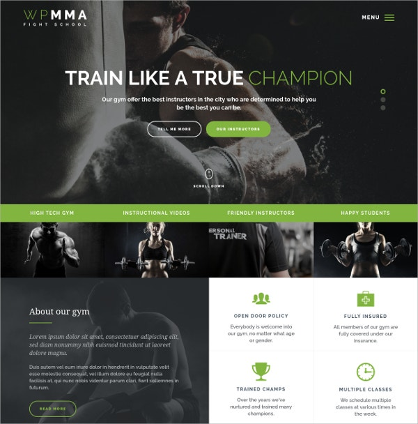 Gym, Fitness & Health Club WordPress Theme $55