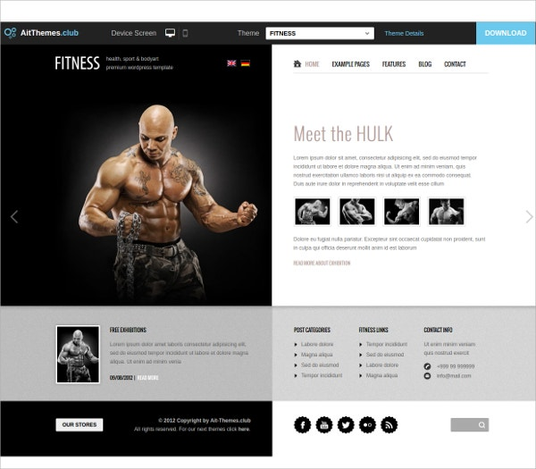 Unique Fitness WordPress Theme