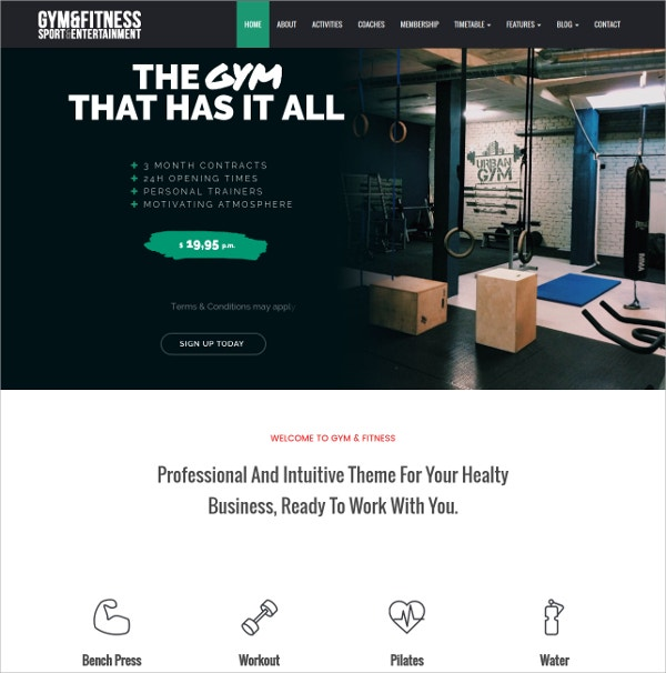 Gym Sports & Fitness WordPress Theme $39