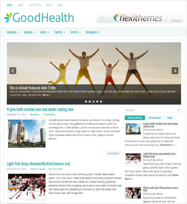 Good Health Free Responsive WordPress Theme