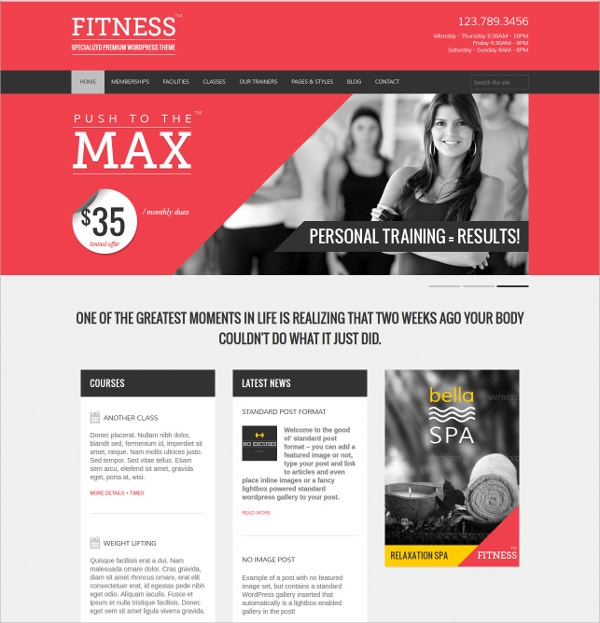 Powerful Sports And Fitness Centers WofrdPress Theme