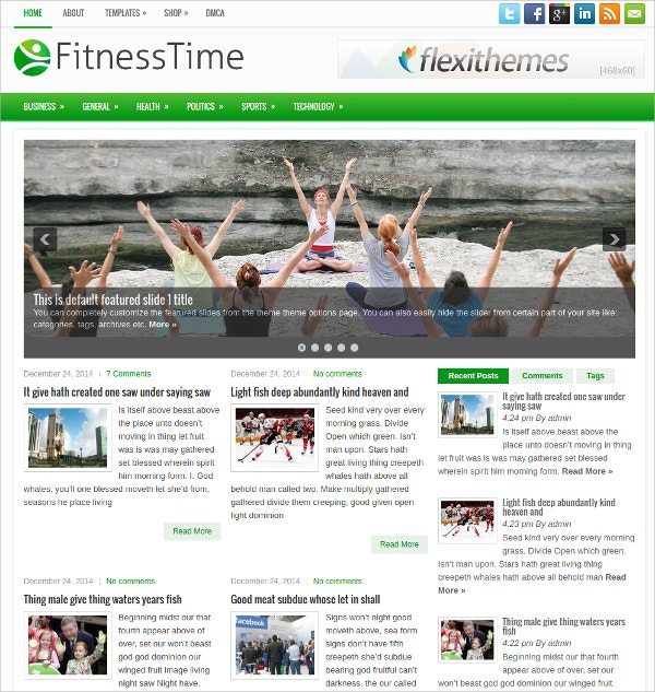 FitnessTime Free Responsive WordPress Theme