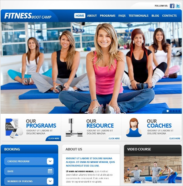 Fitness Camp WordPress Theme $75