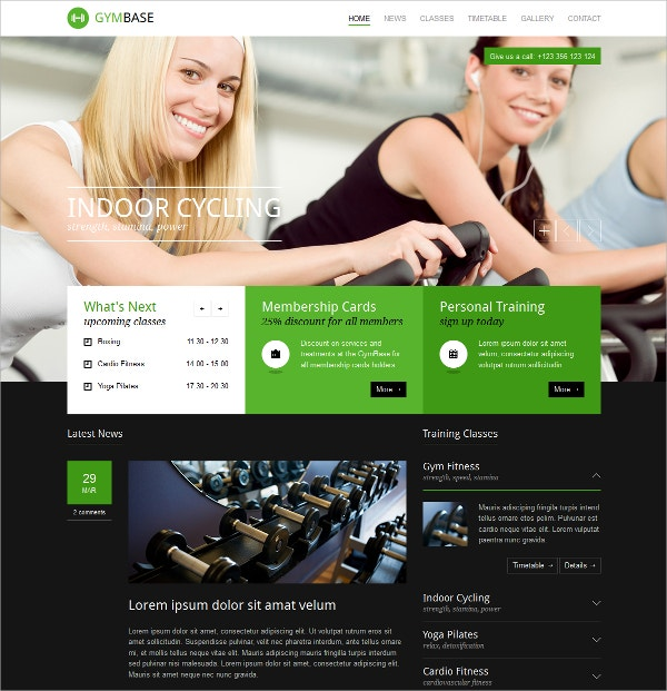 Responsive Gym Fitness WordPress Theme $59