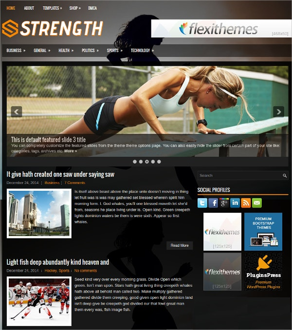 Strength Free Responsive Fitness WordPress Theme