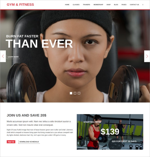 gym fitness stylish wordpress theme