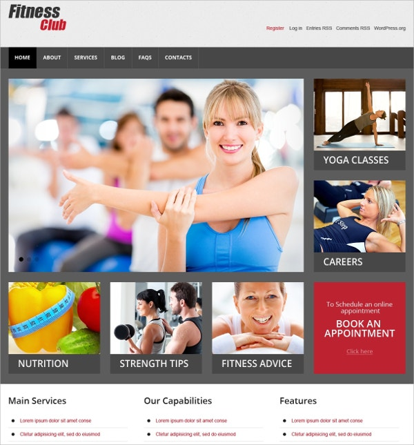 Women Fitness Club WordPress Theme $75