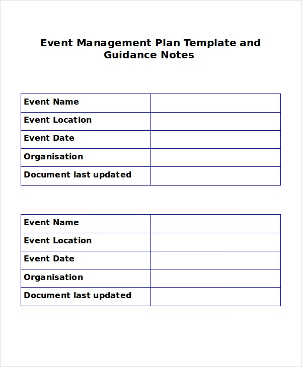 Event Managemnet Plan Template