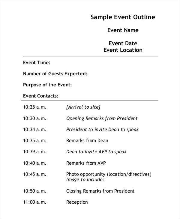 Sample Event Outline Template