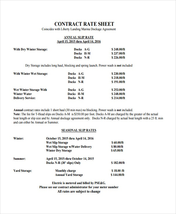 Rate Sheet Template 9 Free Word Excel PDF Document Download – Rate Sheet Template