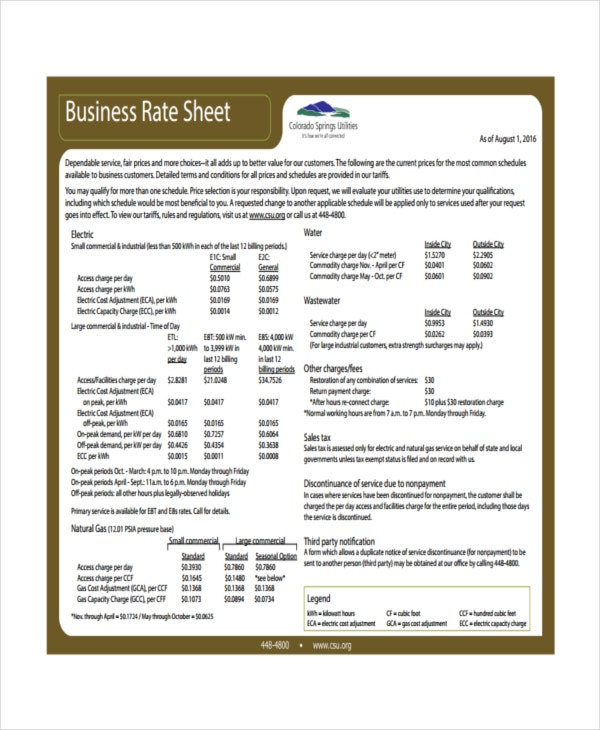 Rate Sheet Template   Free Word Excel Pdf Document Download
