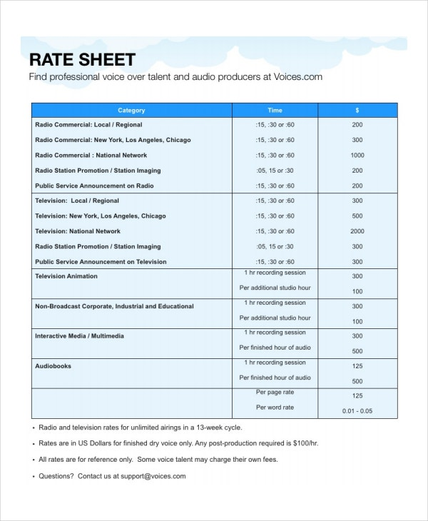 Rate Sheet Template - 9+ Free Word, Excel, Pdf Document Download