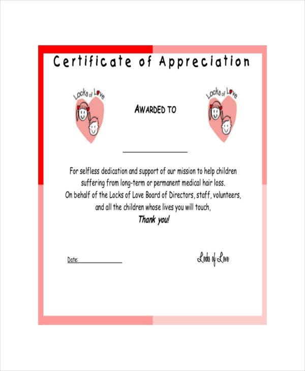 examples of certificate of appreciation