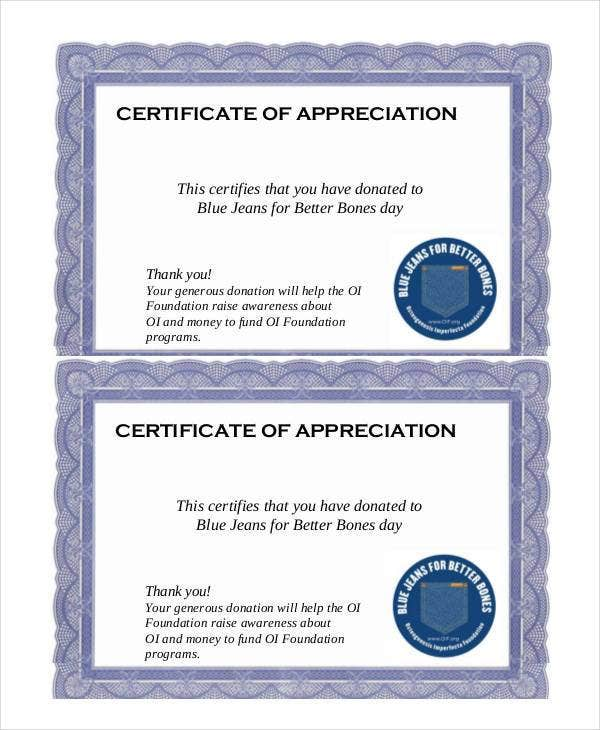 Sample Certificate Of Appreciation For Donation Download