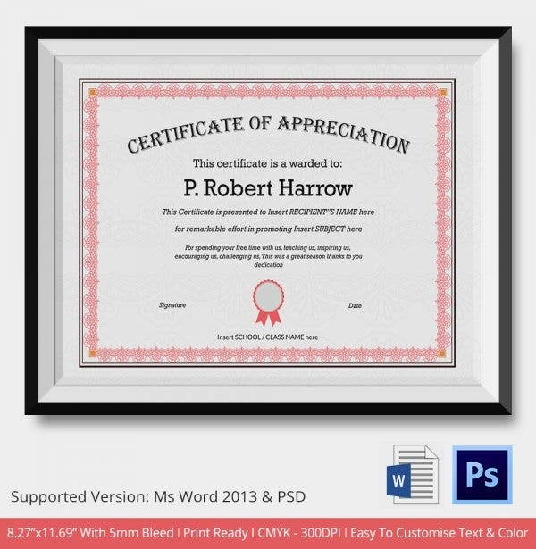 24 Certificate of Appreciation Templates Free Sample Example – Student Certificate Template