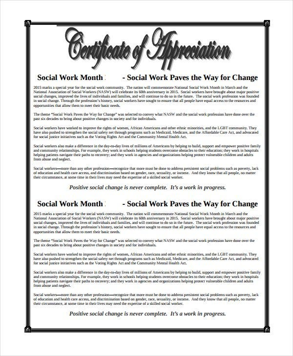 26 certificate of appreciation templates free sample example work certificate of appreciation yelopaper Gallery