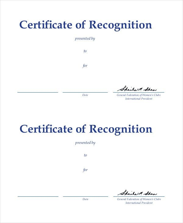 certificate of recognition example