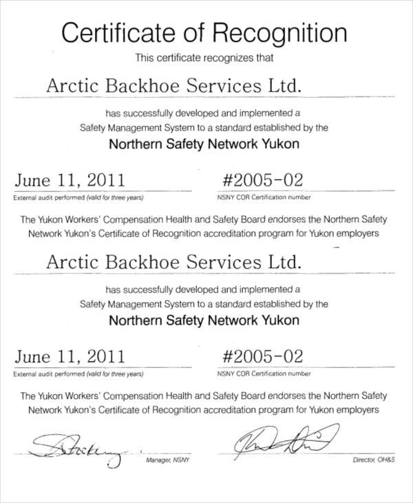 Certificate Of Recognition Format  Certificate Of Recognition Samples