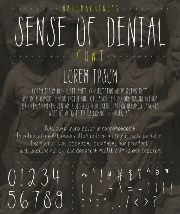 sense of denial horror font