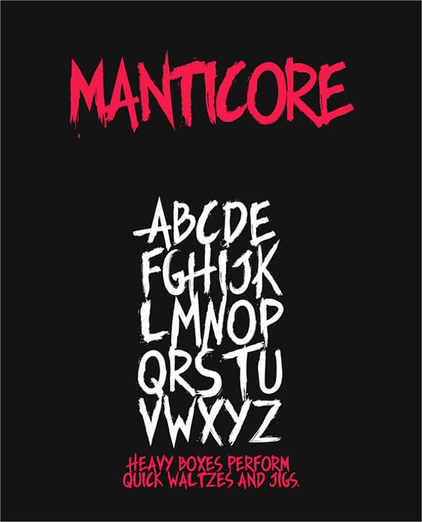 manticore typeface horror font