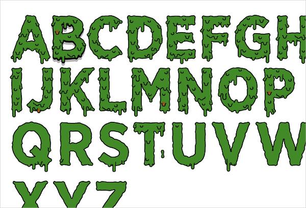 slime typeface horror font