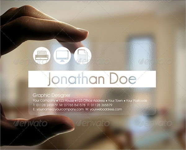 transparent designer business card
