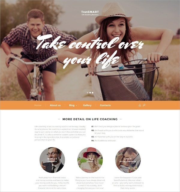 Life Coach Responsive HTML5 Website Template $35