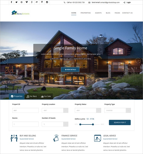 Real Estate Property Responsive Template $16