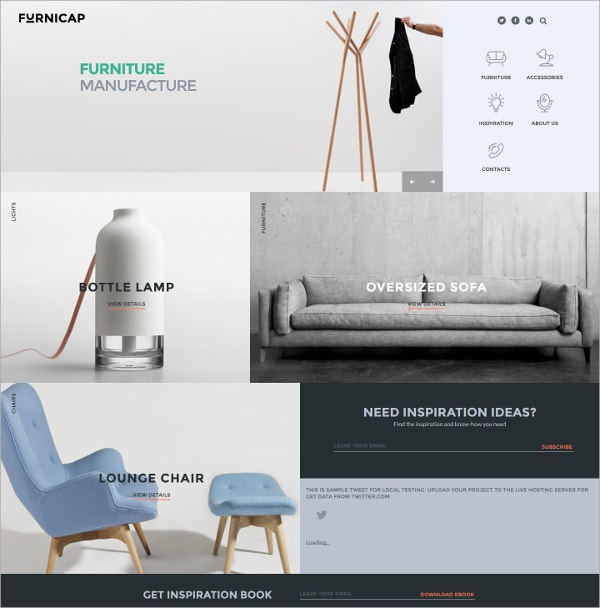 Furniture Responsive HTML5 Website Template $38