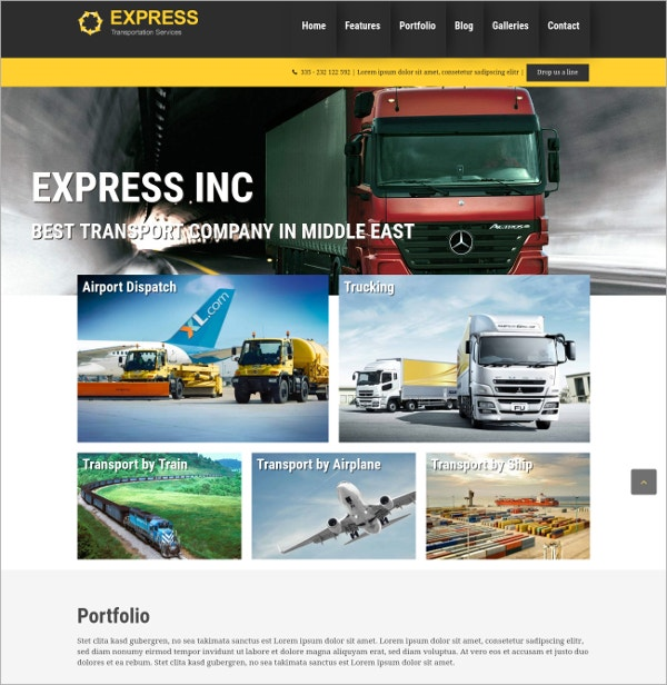 Transporatation HTML5 WordPress Theme $70