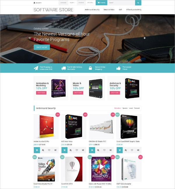 Software Store OpenCart HTML5 Template $89