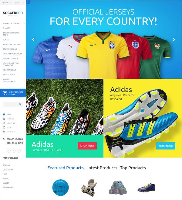 Soccer Responsive VirtueMart HTML5 Template $139