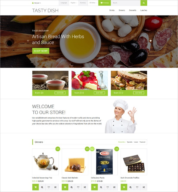 Tasty Dish OpenCart HTML5 Template $89