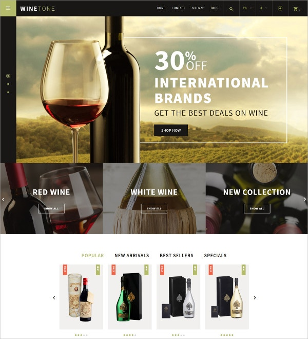 International Barnds Winetone PrestaShop HTML5 Theme $139