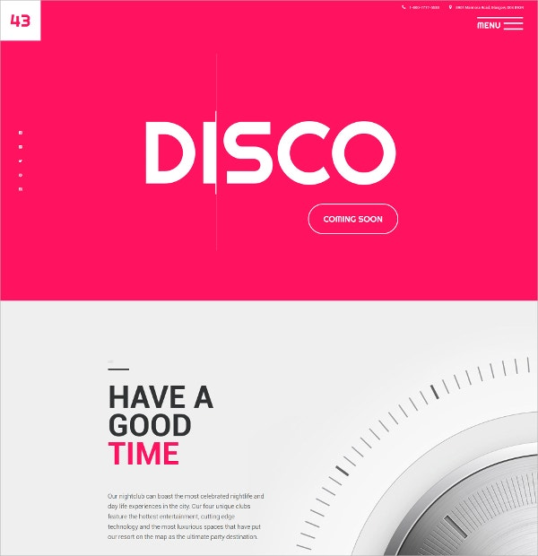 Night Club Disco HTML5 Website Template $75