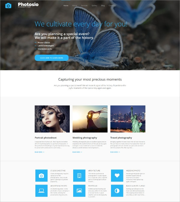 Photo Studio Photo Gallery HTML5 Template $199