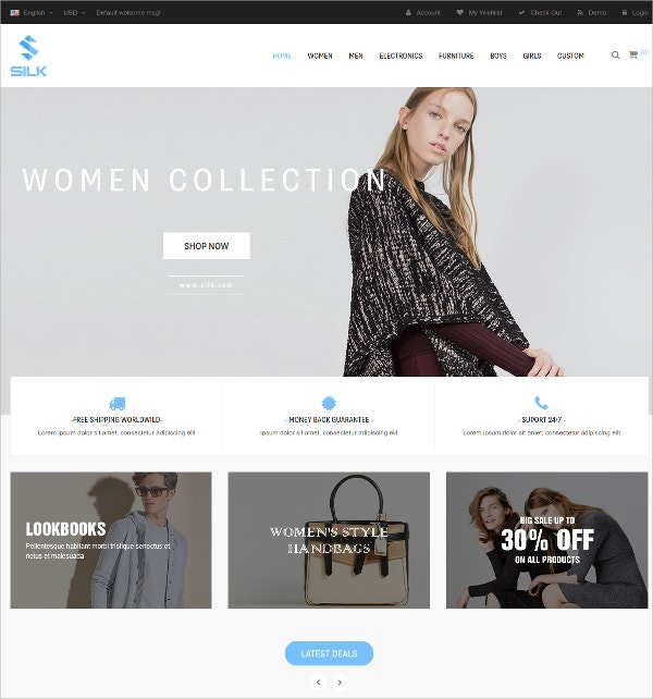 Responsive Clothes Shop HTML5 Prestashop Theme $70