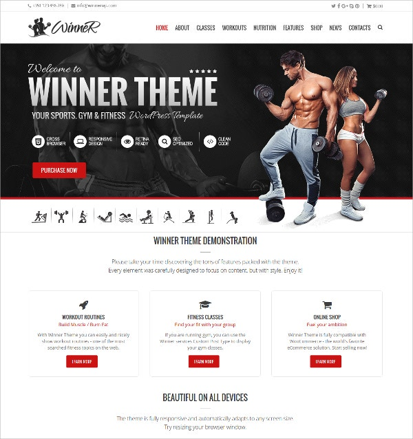 Sports, Gym & Fitness WordPress HTML5 Theme $59