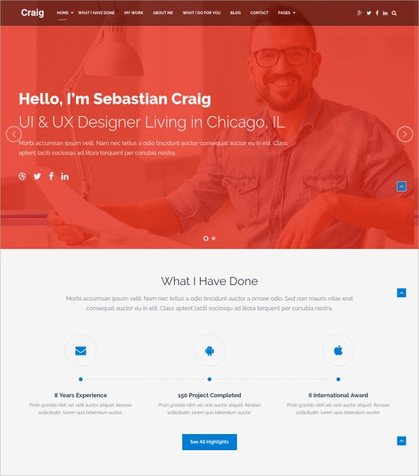 Creative WordPress HTML5 Theme for Portfolio $39