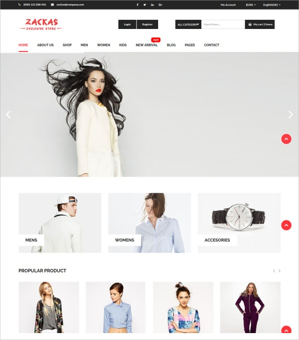 eCommerce Fashion HTML5 Template $17
