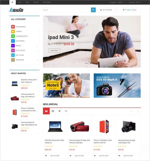 Multipurpose WooCommerce WordPress HTML5 Theme $59