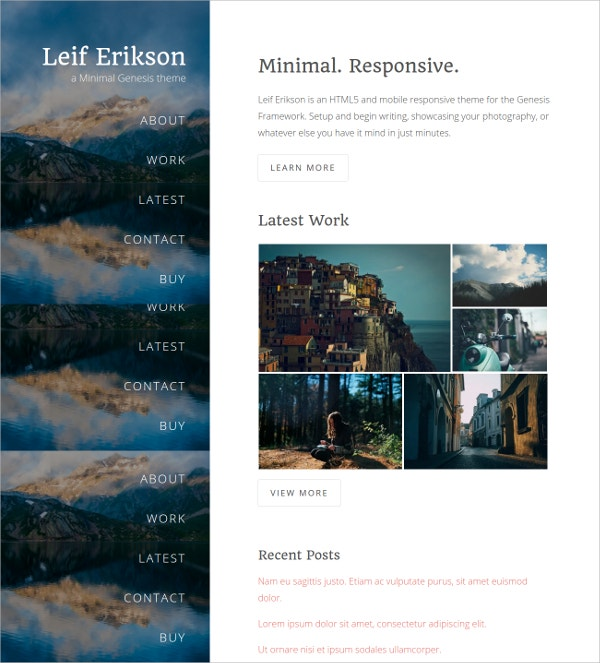 Minimal Photography HTML5 Theme $30